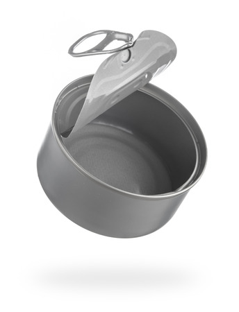 Metal tin food can isolated on white background,Open an empty tin can Stock Photo