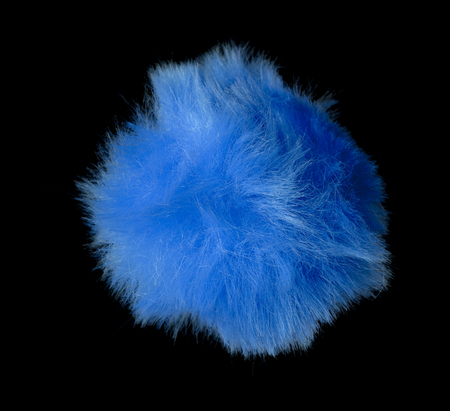 Abstract blue fur ball isolated on black background