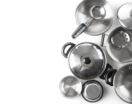 Set of stainless steel pot with kitchen tool set on white background,top view 스톡 콘텐츠