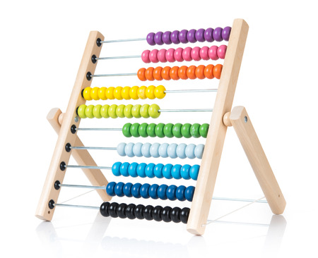 Calculate colorful abacus on white background.