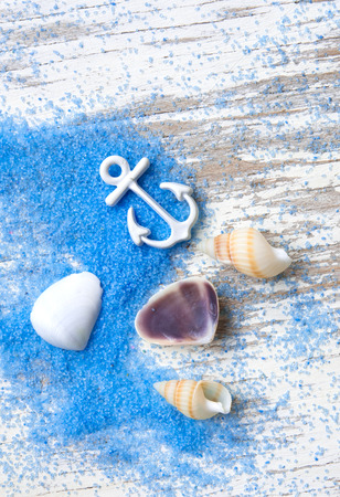Summer background,Blue sand and seashells on wooden background,top view