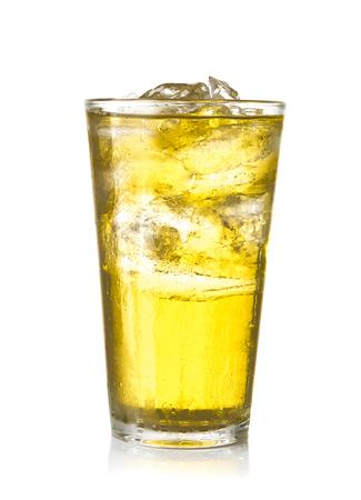 Glass of chrysanthemum flowers ice tea on white background