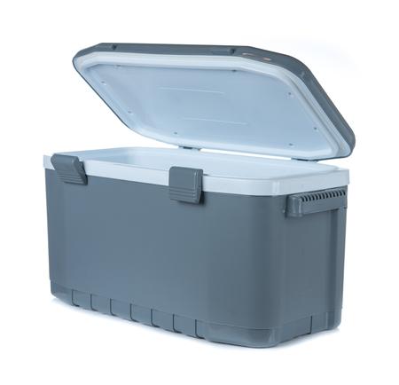 Handheld grey refrigerator isolated on white background