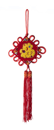 Traditional Chinese new year decoration on white background,calligraphy mean good luck