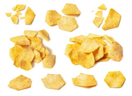 Set of tasty crispy potato chips isolated on white background
