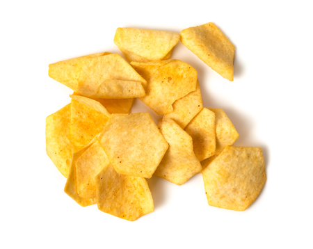 Tasty crispy potato chips isolated on white background
