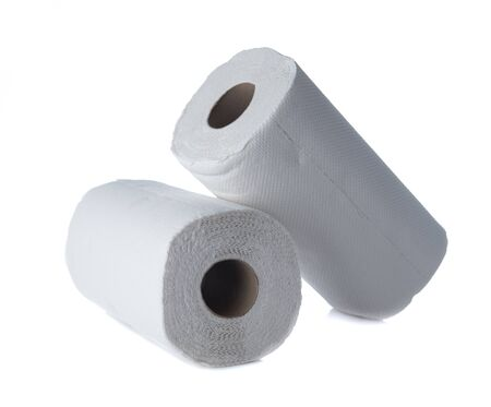 White tissue paper towel roll isolated on white
