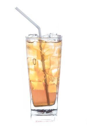 iced tea in long glass on white background
