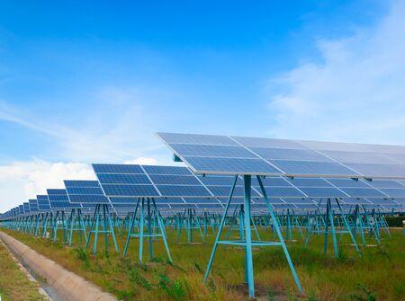 Solar energy panels against blue sky Stock fotó