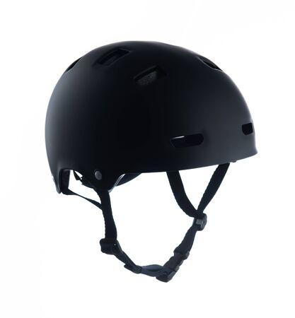Black skater helmet isolated on white background 版權商用圖片