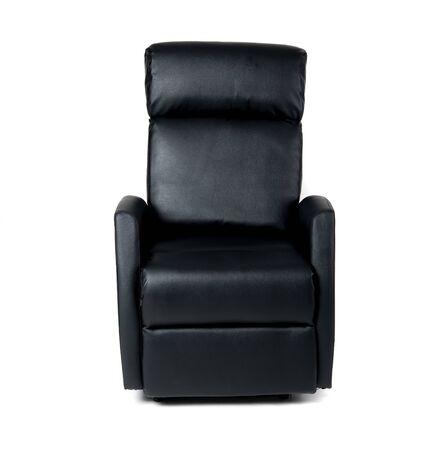 Czarne rozkładane krzesło na białym tle