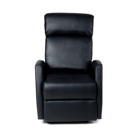 Schwarzer Liegestuhl isoliert auf weißem Hintergrund