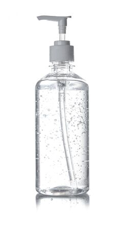 Bottle of hand sanitizer, antimicrobial liquid gel isolated on white background