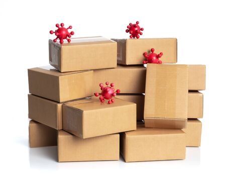 Coronavirus outbreak in 2019,Flu COVID-19 virus cell with cardboard boxes for delivery or moving isolated on white
