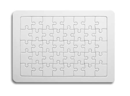 White jigsaw puzzle as mock up copy space on blue background. Standard-Bild