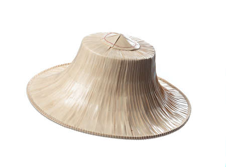 Asian conical bamboo hat for farmers isolated on white background