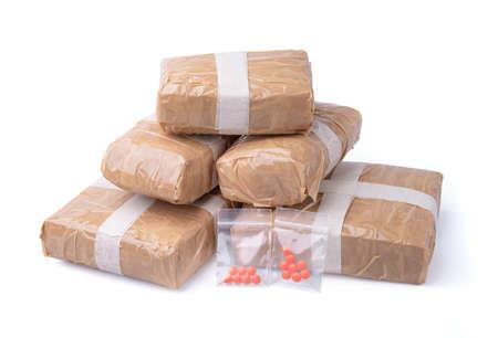 Amphetamine,substance abuse amphetamine tablets in plastic bags,Dangerous drugs Foto de archivo