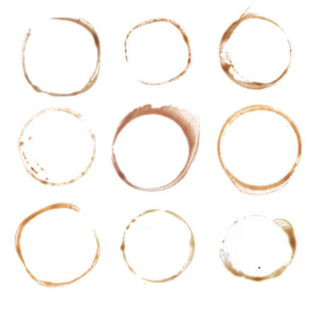 Coffee stains cups rings isolated on white background Foto de archivo