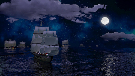 doomed: Sail Boat Being Chased by Viking Ships 3D Illustration