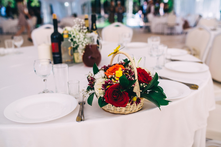 the laid wedding table Stock Photo