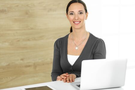 Cheerful smiling business woman working with computer while sitting at the desk in modern office. Middle aged female lawyer or auditor at work. Business people concept