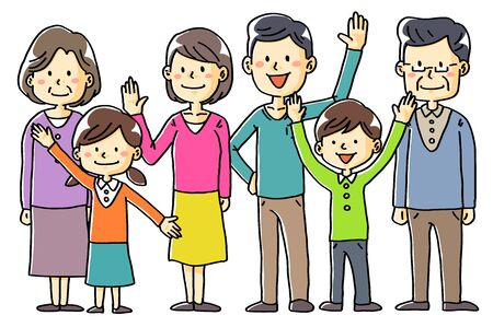 Hand-drawn illustration material family couple children old couple 3 generations