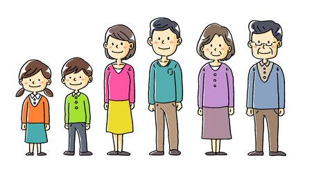 Illustration of two-family family children couple old couple