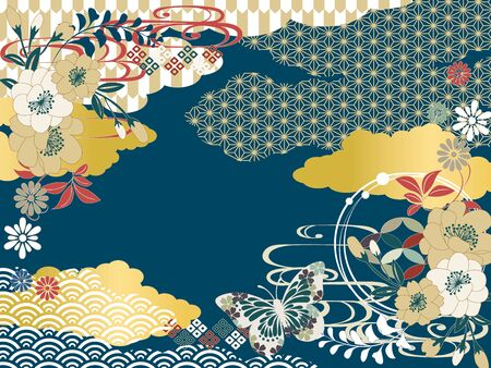 Japanese pattern background material retro pop Japanese simple flat