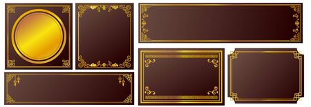Chinese Asian Frame Brown Decorative Line Gold