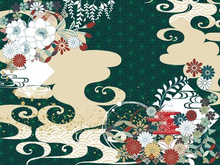Japanese pattern green cloud simple background material flower