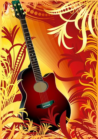 acoustic guitar on floral background Stock Photo - 2898983