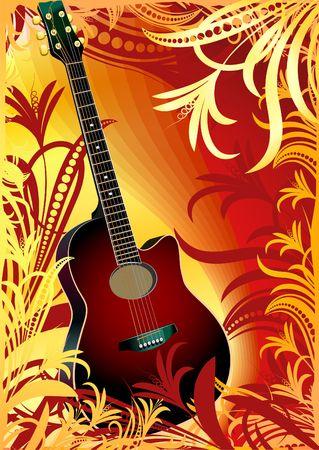 guitarra ac�stica en fondo floral