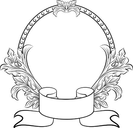 vintage oval frame Illustration