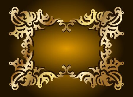 Decorative gold frame for text.  Vector