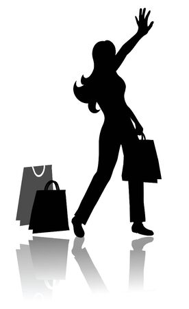 reverberate: Woman silhouette illustration with shopping bags.