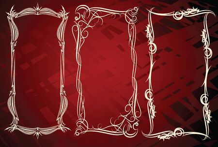 three elegant high frames  Vector