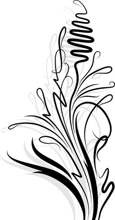 Floral branch with shadow Stock Vector - 9929725