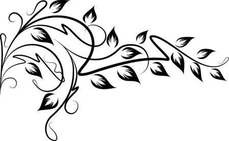 Floral branch with shadow Vector