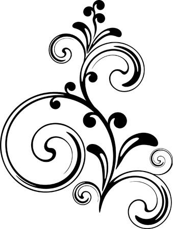 Floral tak met schaduw Stock Illustratie