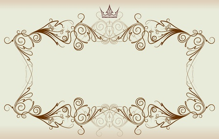 crown tattoo: Vintage frame with crown