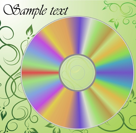 compact disc: Compact Disc on the floral background.  Illustration