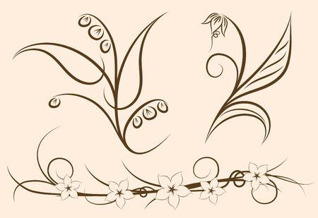 Set of three floral decors  Vector