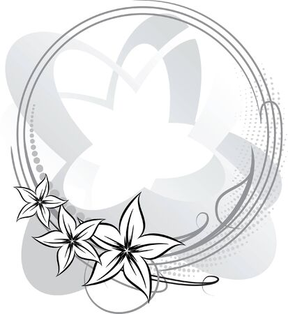 Elegant oval frame with flower. Vector