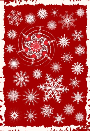 Collection of 30 snowflakes.