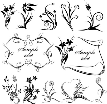 Rich collection of decor elements for design or tattoo. Lot of similar images in my gallery. Stock Vector - 9930170