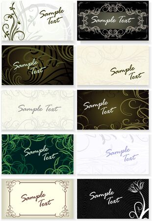 Set of 10 beautiful visit-cards.  Illustration