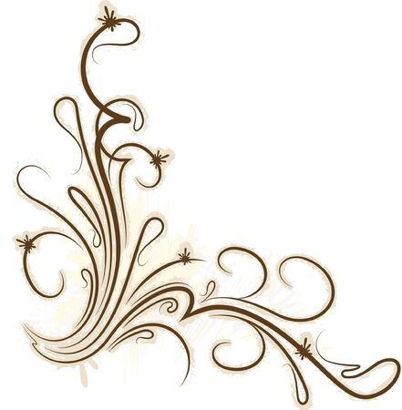 tendrils: Decorative branch on grunge background