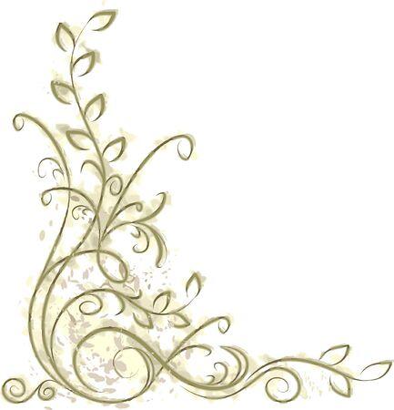 ringlet: Decorative branch on grunge background