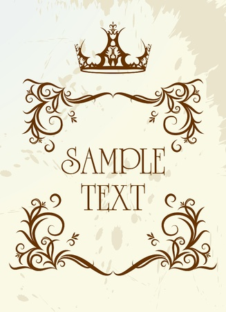 Vintage frame with crown Stock Vector - 9930436