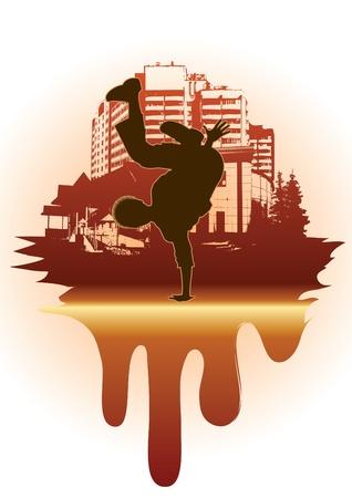 Urban grunge background with street dancer Vektoros illusztráció